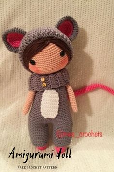 We bring you the latest recipes about amigurumi. In this article, amigurumi doll lily in mouse costume free crochet pattern is waiting for you. Doll Amigurumi Free Pattern, Amigurumi Doll, Mouse Costume, Free Crochet, Lily, Teddy Bear, Costumes, Dolls, Baby Dolls