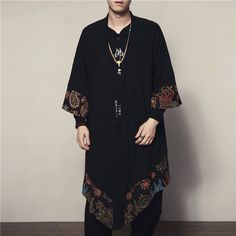 2019 summer men loose cardigan japanese kimono stripe coat high street hip hop casual outerwear embroidery dragon and koi kimono Style Chinois, Mode Kimono, Japanese Streetwear, Long Trench Coat, Style Casual, Japanese Fashion, Chinese Fashion, Japanese Kimono, Mode Inspiration