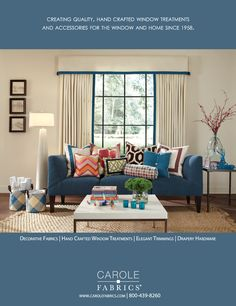 Carole Fabrics. Veranda Magazine. September/October 2013. Blindsanddrapery.com love Carole Fabrics!