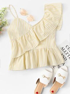 Shop Ruffle Trim Asymmetrical Shoulder Top at ROMWE, discover more fashion styles online. Kpop Outfits, Stage Outfits, Girl Outfits, Casual Outfits, Fashion Outfits, Western Dresses, Western Outfits, Fancy Tops, Silk Saree Blouse Designs