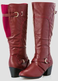 Short Chunky Heel Tall Boot – Wide Width Wide Calf From The Plus Size Fashion Community At www.VintageAndCurvy.com