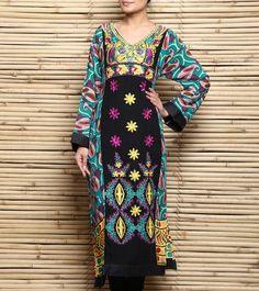 Black Embroidered Cotton Lawn Pakistani Kurta #indianroots #ethnicwear #kurta #pakistanikurta #cotton #embroidered #summerwear #casualwear