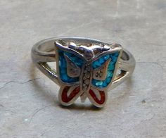 Vintage 70's Turquoise Coral Butterfly Sterling by WillowBloom, $14.50
