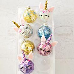 Glitter & unicorn ornaments - ornament DIY - make your own ornaments - Christmas ornaments