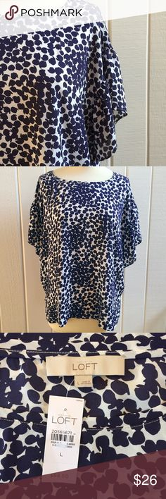 CLOSET CLOSING Flutter Sleeve Blouse NWT Brand new! Navy blue & white print blouse drapes beautifully. Drop flutter sleeves. Comes from a smoke- and pet-free house. Bundle for additional savings!   CLOSET CLOSING 6/30 to 7/20. If you like it, get it now! LOFT Tops Blouses