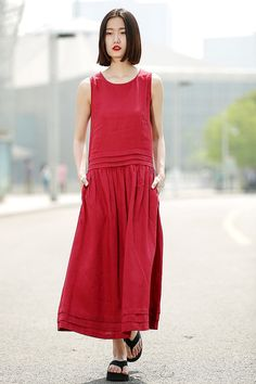 Maxi Red Dress Linen Sleeveless Cool Comfortable Casual