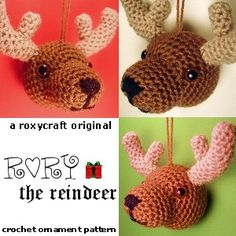 """Rory the Reindeer"" Free Amigurumi Ornament Pattern... i am totally tryig this for Christmas this year... to go with my snowman and candy canes ~Kira"