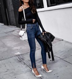 2018 Spring Outfit Ideas to Combat Those – Street Style Rocks 2018 Spring Outfit Ideas to Combat Those cute outfit idea / one shoulder top leather jacket bag heels skinnies Date Outfit Summer, Jeans Outfit Summer, Spring Outfits, Dressy Outfits, Cute Outfits, Fashionable Outfits, Ripped Jeans Outfit, Skinny Jeans, Look Here