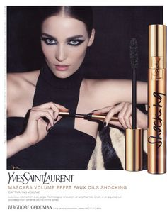 Terry Richardson photographed Zuzanna Bijoch for Yves Saint Laurent's Mascara Volume Effet Cils Shocking campaign with makeup by Lloyd Simmonds.