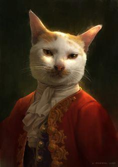 328 L A Portrait of My Cat - Indah Alditha Putri Siregar ( Animal Paintings, Animal Drawings, Art Drawings, Arte 8 Bits, Arte Peculiar, Japon Illustration, Arte Obscura, Animal Heads, Surreal Art