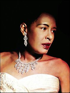 Billie Holiday, c. 1957 - Holiday had a seminal influence on jazz and pop singing. Her vocal style, strongly inspired by jazz instrumentalists, pioneered a new way of manipulating phrasing and tempo. Billie Holiday, Jazz Artists, Jazz Musicians, Music Artists, Divas, Lady Sings The Blues, Bless The Child, Jazz Blues, Blues Music