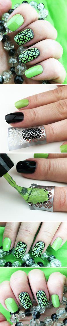"Nail Stencils design ""Tangerine"" #nailart"