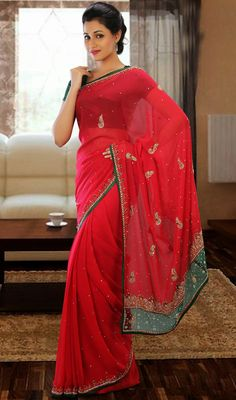 Sparkling Red Faux Georgette Saree Price: Usa Dollar $131, British UK Pound £77, Euro97, Canada CA$142 , Indian Rs7074.