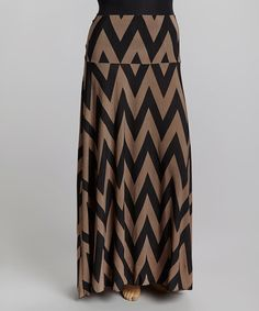 Another great find on #zulily! White & Black Zigzag Maxi Skirt - Plus #zulilyfinds