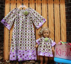 READY TO SHIP Size 7...Girl's Boutique Peasant Dress & Matching Doll Dress for 18 inch dolls in Michael Miller's Feeling Groovy...