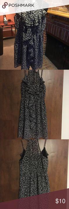 Dress Black and gray dress cute ruffle down the front Dresses Mini