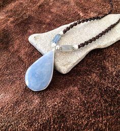 Celestite- Angelite necklace, Teardrop Celestite necklace, Blue stone necklace, Ethnic unisex Celestite necklace, Sky color, Spiritual, Gift