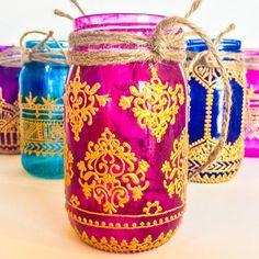 Abundance and Luck; 16oz. Hand Painted Indian Henna Mason Jar Lantern