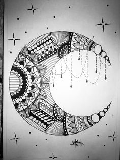 Henna Moon, School Supply Labels, Eid Mubarak, Doodle Art, My Works, School Supplies, Celebrations, Doodles, Calligraphy