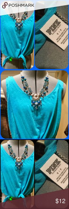 Pink by Victoria Secret tie tank in blue Pink by Victoria Secret tank top in blue,ties at waist.  Size small.  Necklace also for sale. PINK Victoria's Secret Tops Tank Tops