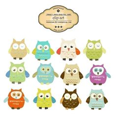 Owl Clip Art  Owl clipart  Original quality clip art  for  Invites, cards, scrapbooking. $7.95, via Etsy.