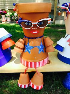 4th of July, Patriotic Holidays, Red, White, & Blue, Clay Pots, Terra Cotta Pots, Pot People