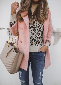 Pink Coat and Leopard Sweater
