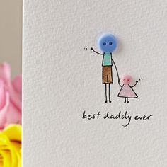 Personalised 'Button Daddy' Hand Illustrated Card