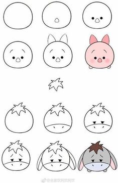 Easy Doodles Drawings, Easy Disney Drawings, Easy Animal Drawings, Cute Cartoon Drawings, Easy Doodle Art, Mini Drawings, Cute Easy Drawings, Art Drawings Sketches Simple, Simple Doodles