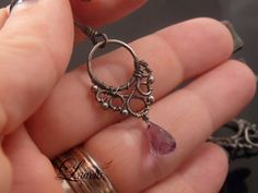 Gothic Victorian simple earrings - sterling silver, amethyst