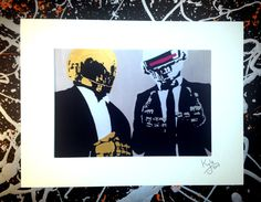 Daft Punk, signed pop art canvas print with cardboard mount. From an original painting by Kyle Maclennan/Headon Art by HeadonArt on Etsy