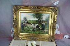 Gorgeous OIL on panel Belgian 1920 Painting signed Cow farm animals
