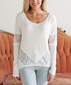 Look what I found on #zulily! White Lace Long-Sleeve Top #zulilyfinds