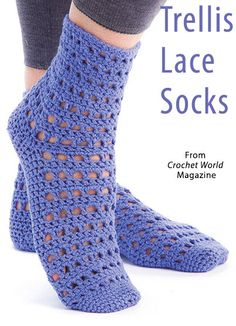 Trellis Lace Socks from the August 2015 issue of Crochet World Magazine. Order a digital copy here: https://www.anniescatalog.com/detail.html?prod_id=125657