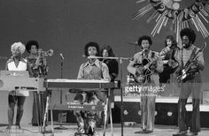 The band, 'Sly and the Family Stone' at rehearsal for a television appearance, October 15, 1969. From left: Rose Stone, Cynthia Robinson, Sly Stone, Jerry Martini, Freddie Stone, Gregg Errico, Larry Graham.