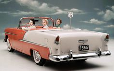 1955 Chevrolet Bel Air Convertible....just imagine sitting with the three of you.....and without belts.