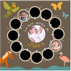 Un support original pour mettre en avant les plus belles photos de la première année de votre enfant, en compagnie des animaux de l'arche de Noé !