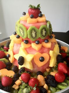 Watermelon Cake- w/other fruit, for Marlee Yummy Treats, Sweet Treats, Yummy Food, Paleo Treats, Healthy Party Snacks, Healthy Munchies, Healthy Food, Healthy Eating, Lemon And Coconut Cake