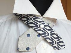 OOAK Navy Blue White Neckwear Textile necklace Women by OseArt, $17.00