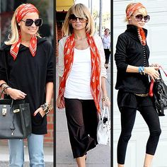 Nicole Richie shows us three ways to wear the same red scarf