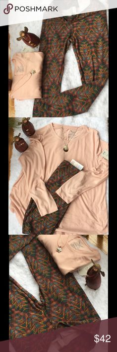 OS Chevron print, Lularoe leggings. Matching top. Beautiful outfit, leggings,OS are Lularoe new with tag. Top is a pale peach, large 12-14. Not Llr. They do match very well. LuLaRoe Other