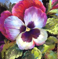 Pansy Pastel painting Nel Whatmore art www.nelwhatmore.com