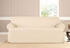 Sure Fit Slipcovers Heavyweight Cotton Duck One Piece T-cushion Slipcovers - Sofa T-cushion (Temporary covers)