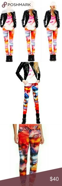 L'Amour Nanette Lepore Space Galaxy Denim Leggings These are crazy cool!! They're wild and look super cool when on! I have the black vegan leather jacket in my closet as well 😊 these are a denim legging. These are a size 7 in Juniors however I'm a size 6 and they fit perfectly! They feature:  • Multi color space galaxy print  • 5 pocket styling  • Belt loops Nanette Lepore Jeans Skinny
