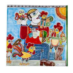 Hand crafted and lovingly hand painted by expert artisans, this panel is sure to brighten up any space in the home. The splendid Hen Thief Panel, measuring. Floor Decor, Punch Needle, Contemporary Decor, Hens, Artisan, Vibrant, Pottery, Hand Painted, Ceramics