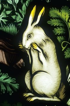 Rabbit, detail from the Temptation of Eve (stained glass), Ely Cathedral I like this illustration and I love stained glass. Medieval Stained Glass, Stained Glass Angel, Stained Glass Paint, Stained Glass Designs, Stained Glass Windows, Mosaic Glass, Glass Art, Year Of The Rabbit, Glass Museum