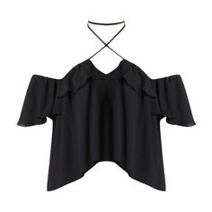 Carla Off the Shoulder Halter Blouse in Black (€275) ❤ liked on Polyvore featuring tops, blouses, halter neck tops, off shoulder blouse, off the shoulder blouse, tie halter top and halter neck blouse