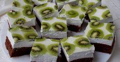 Mennyei Kiwis tejszínes,tejfölös krémes kocka recept! Nagyon finom,üde krémes sütemény.