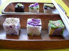 Cubes de riz, style sushis
