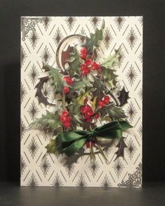 Silver Foil Holly Berry Christmas Card by PinkPetalPapercrafts, $6.00